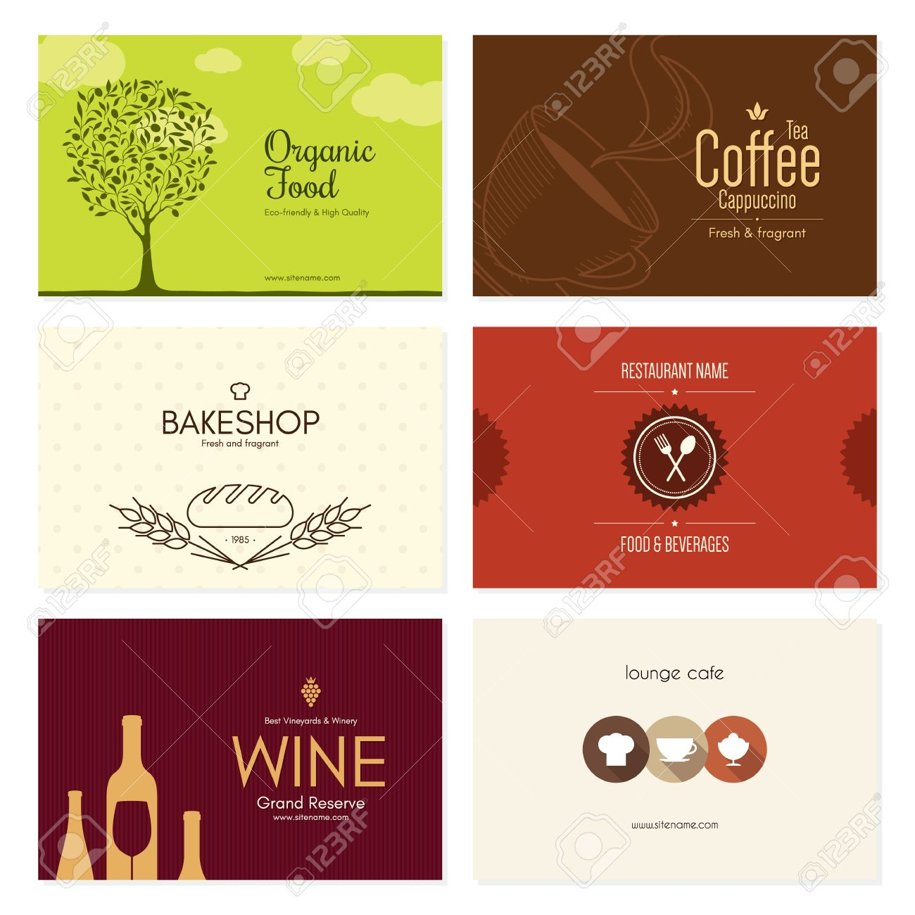 Business Card Set. 6 Bright Visiting Cards. Food And Drink Theme ...