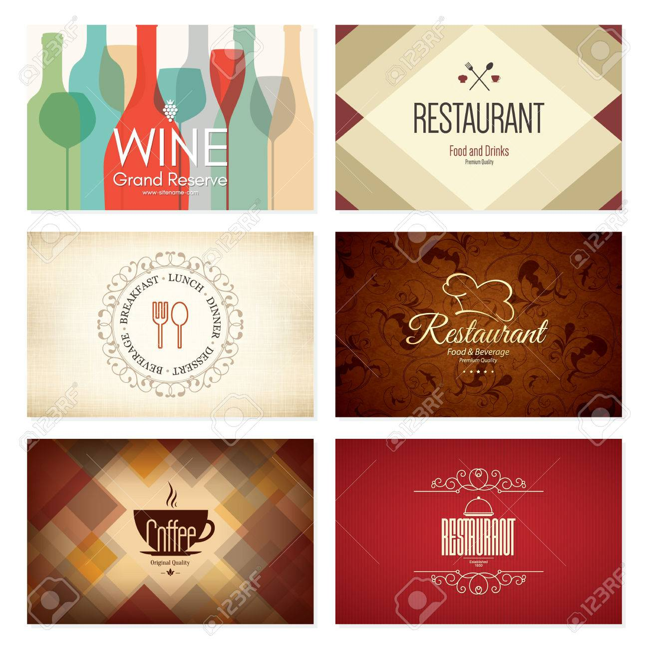 Business card set 6 bright visiting cards food and drink theme business card set 6 bright visiting cards food and drink theme for cafe reheart Image collections