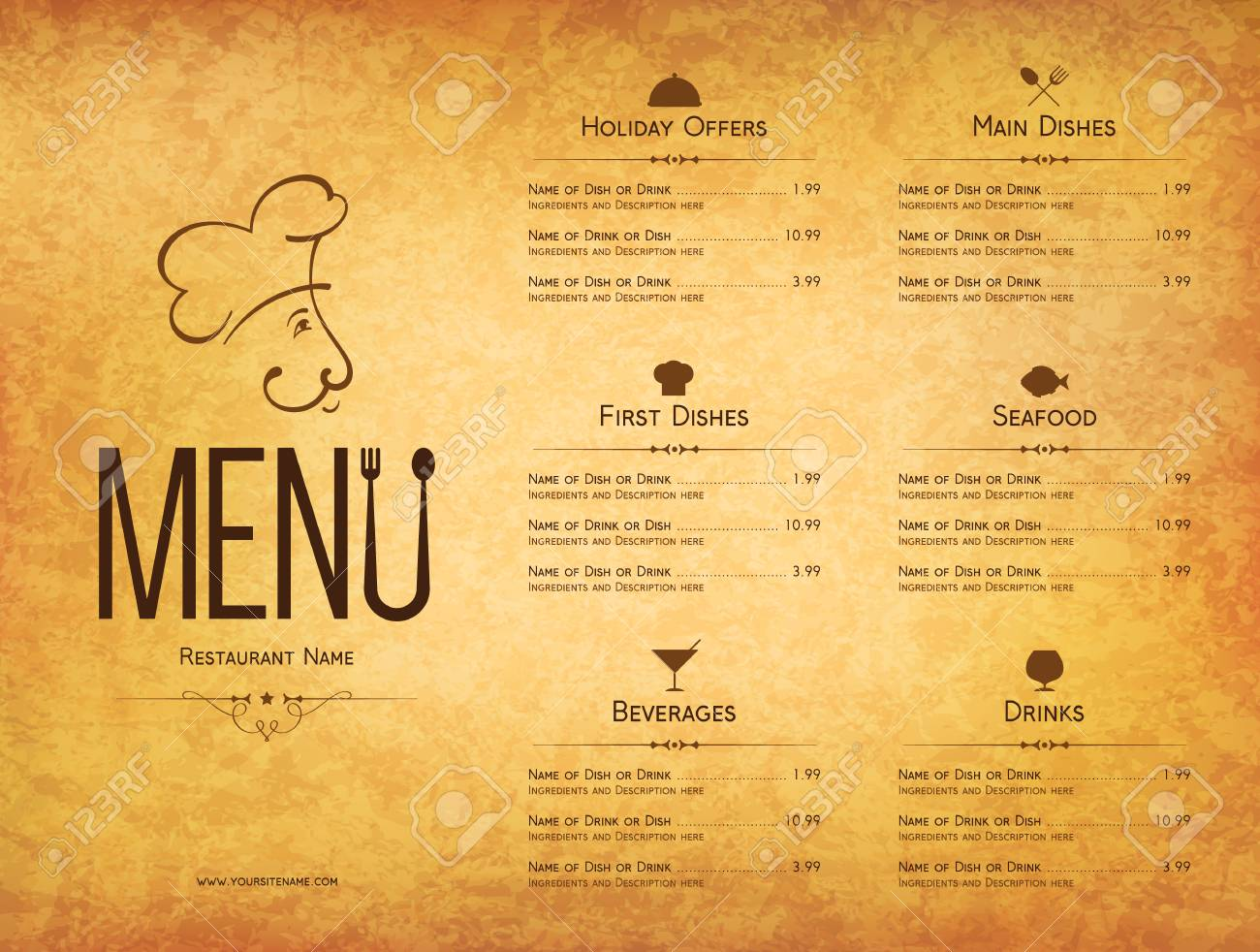 Restaurant Menu Design Vector Menu Brochure Template For Cafe - Menu brochure template