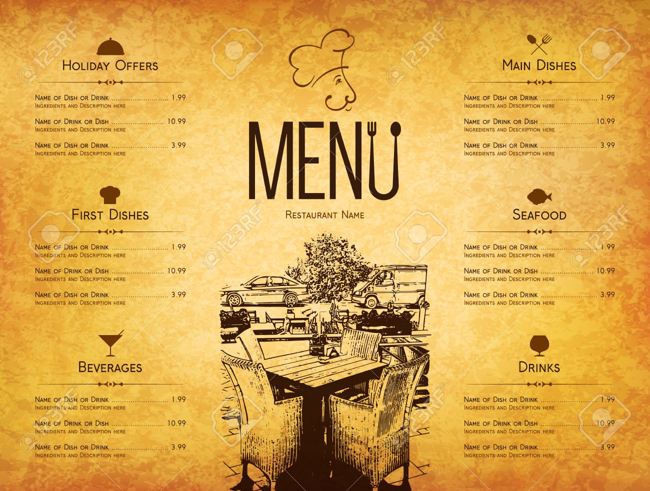 Restaurant Menu Design Vector Menu Brochure Template For Cafe Royalty Free Cliparts Vectors And Stock Illustration Image 61196910