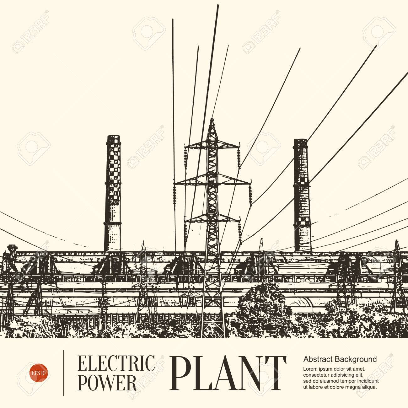 Abstract sketch stylized background. Electric power station - 64319323