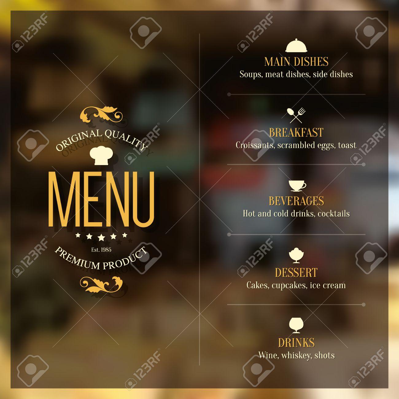 Restaurant menu design. Vector brochure template for cafe, coffee house, restaurant, bar. Food and drinks logotype symbol design. Vintage background - 64319392
