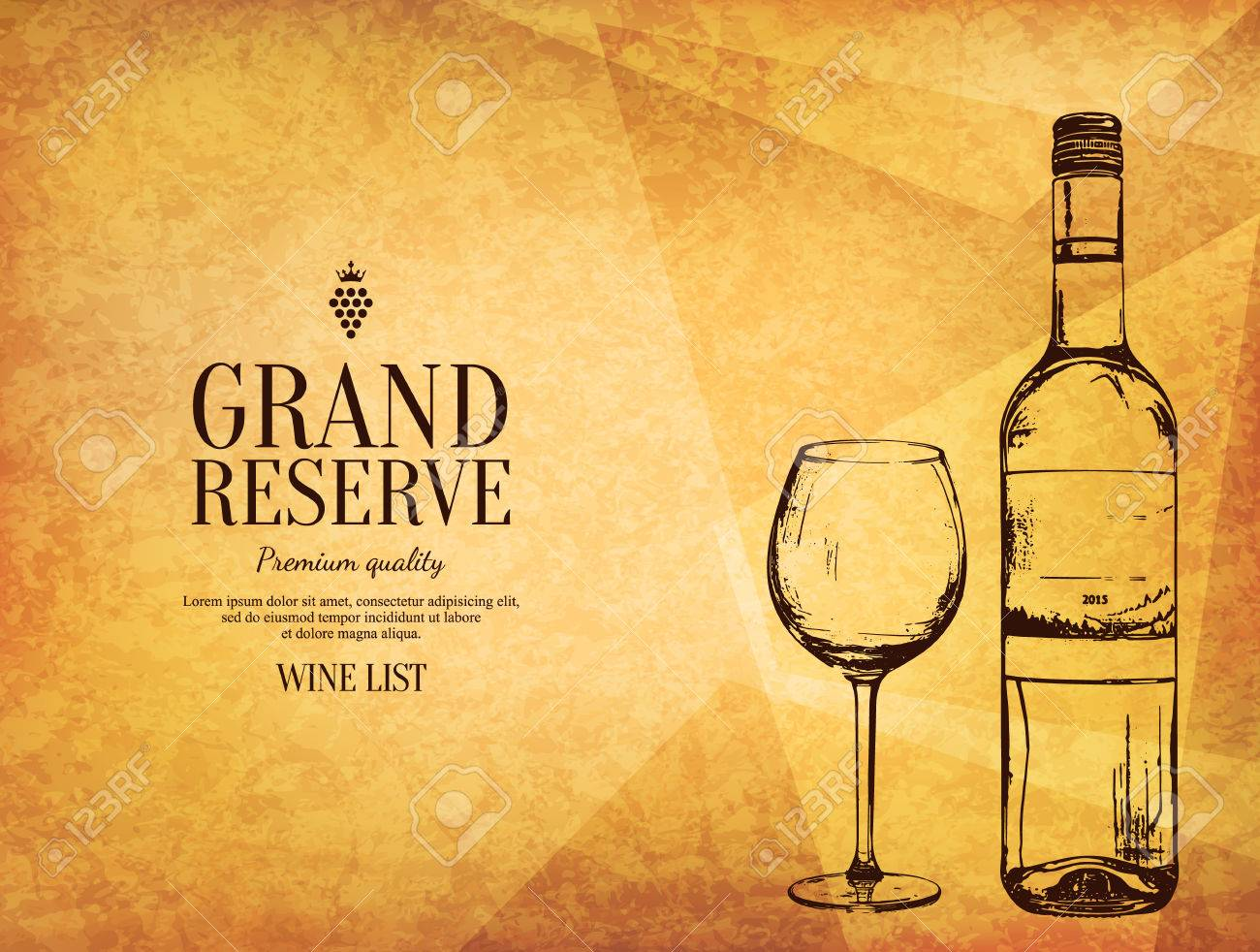 Wine List Design Vector Brochure Template For Winery Cafe