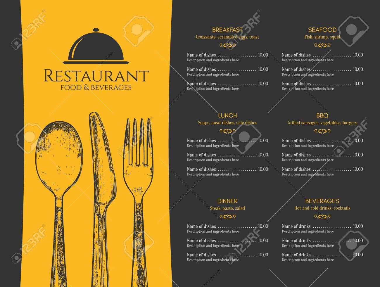 Restaurant Menu Design Vector Menu Brochure Template For Cafe Royalty Free Cliparts Vectors And Stock Illustration Image 81939785