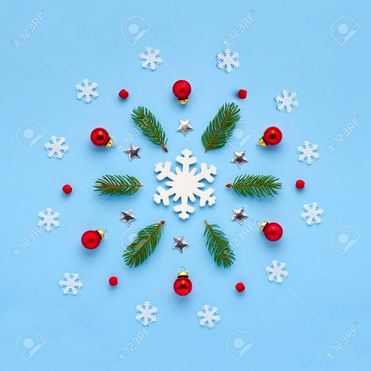 Christmas Card. Xmas Ornament From Snowflakes, Red Balls, Twigs ...