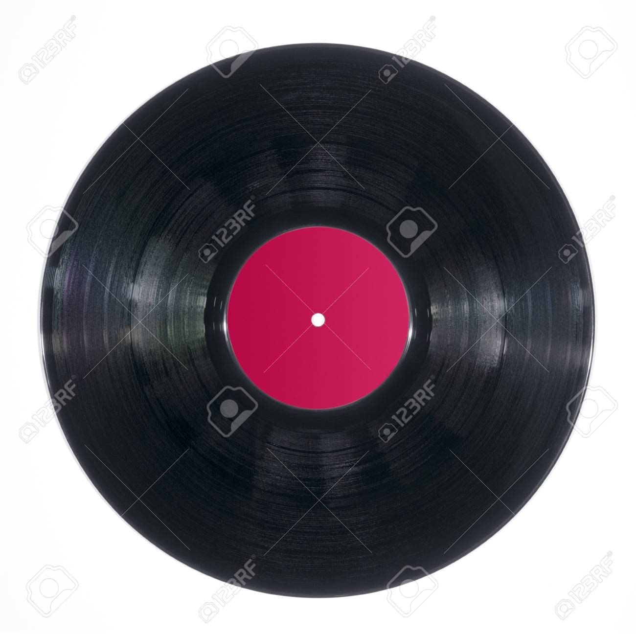 Black DJ vinyl record plate for a music player on a white background