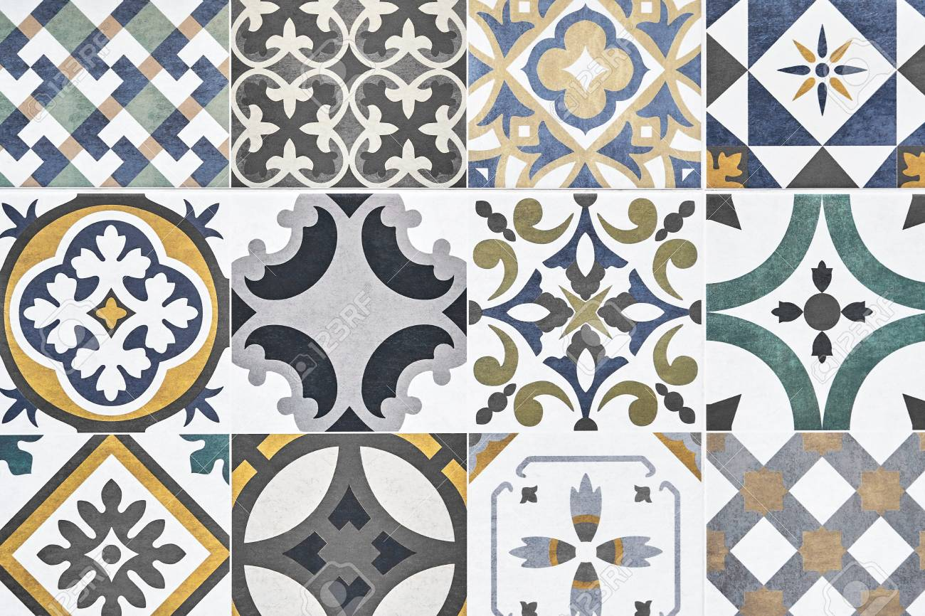 Texture Of Ceramic Tiles In Oriental. Turkish Ceramic Tiles Lined ...