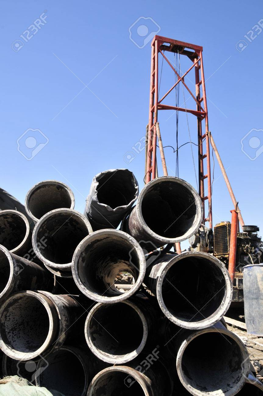 Steel pipe, piling equipment at the construction site