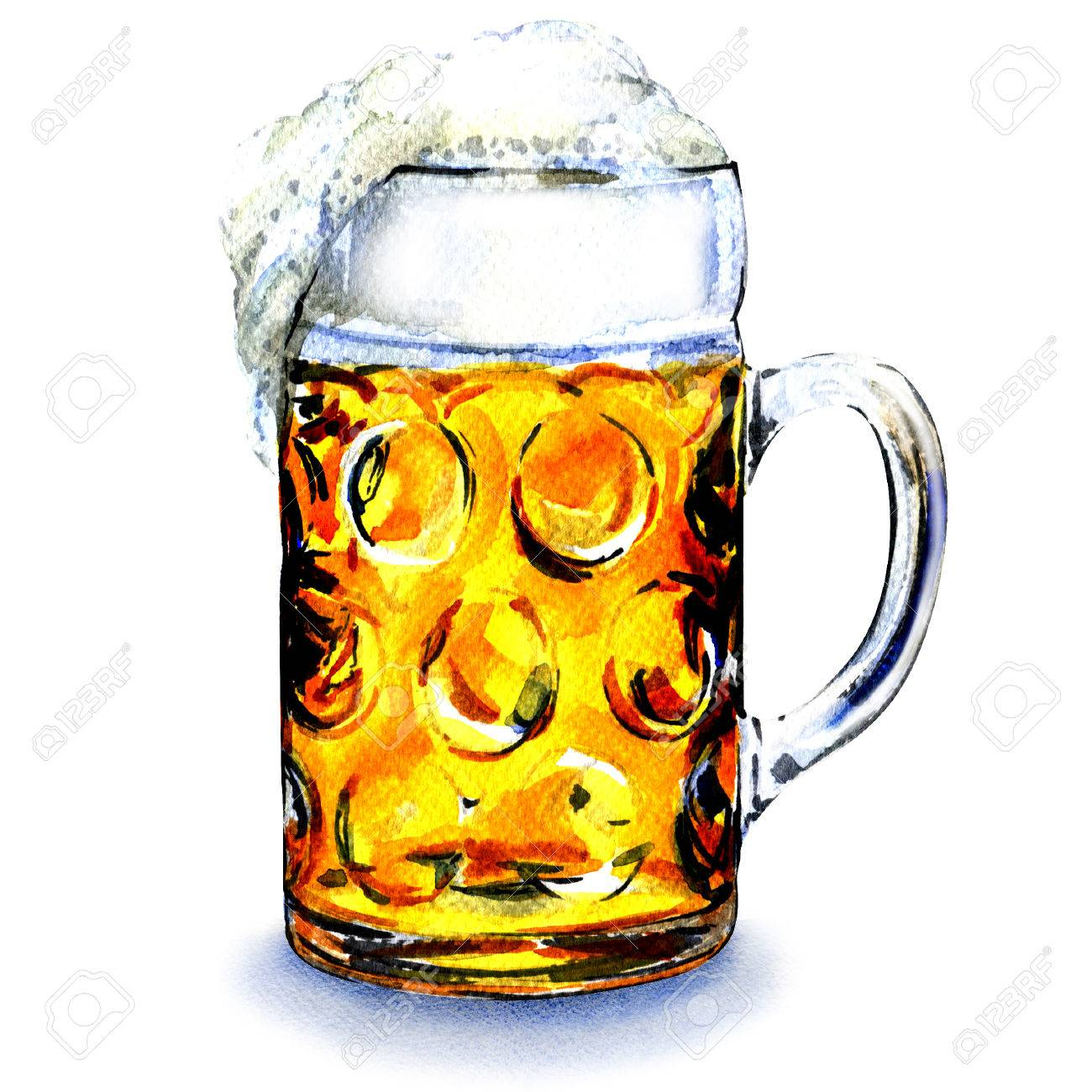 Glass Mug With Beer Isolated Watercolor Painting On White Background Banco De Imagens Royalty Free Ilustracoes Imagens E Banco De Imagens Image 47197848