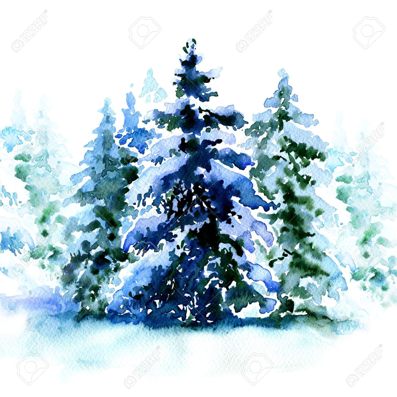 Group Of Christmas Trees Covered Snow In Winter Isolated Watercolor