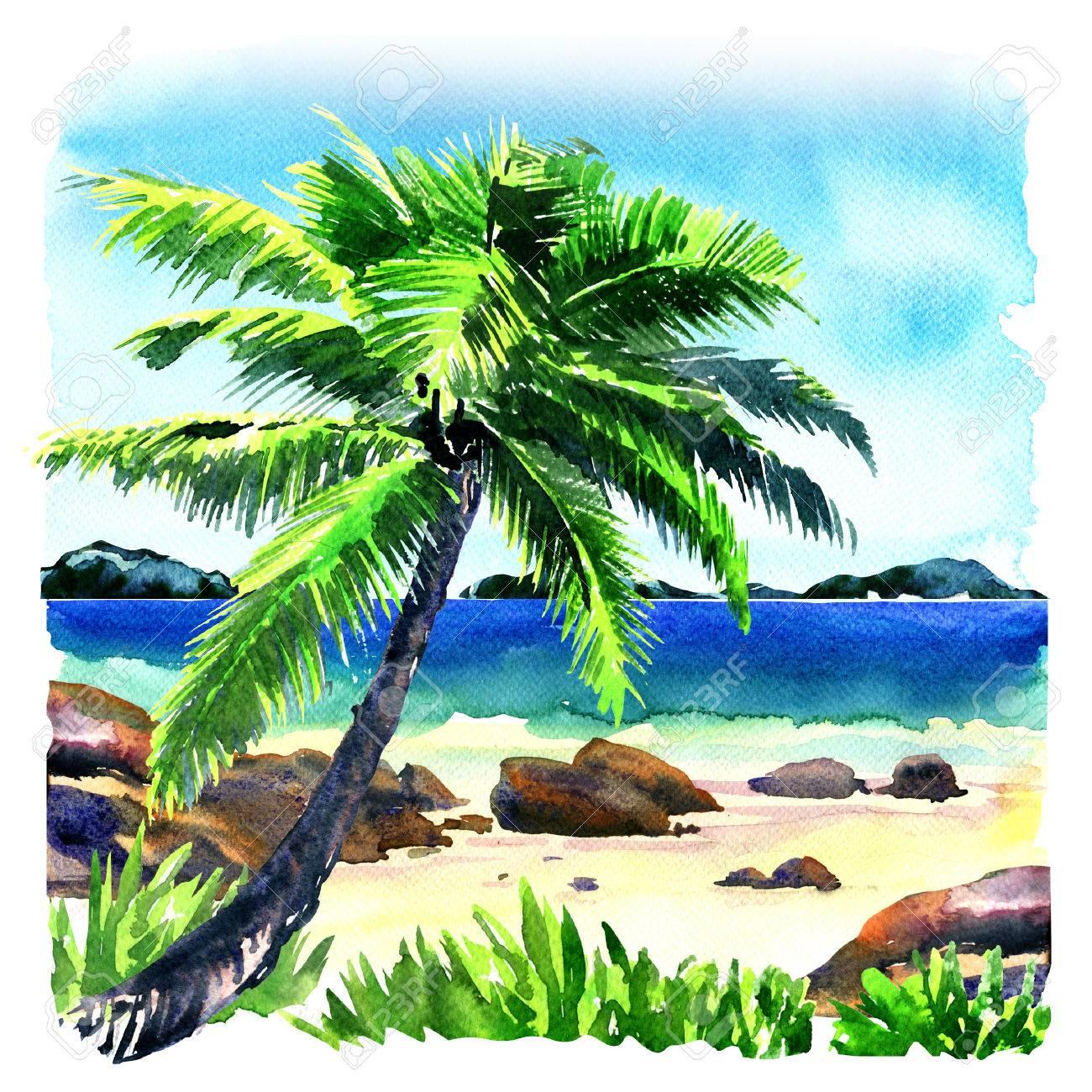 Hermosa Playa Tropical Con Palmeras De Coco Como Lugar De Descanso ...