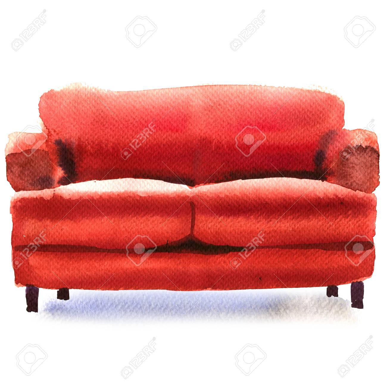 Red Sofa, Comfortable Couch, Isolated, Watercolor Illustration ...