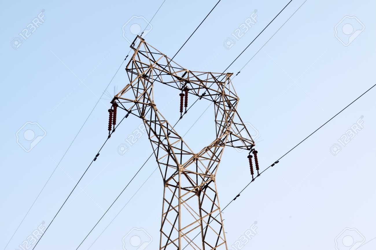 electric tower in the blue sky, steel power transmission facilities, HeBei, North China. Stock Photo - 10099123