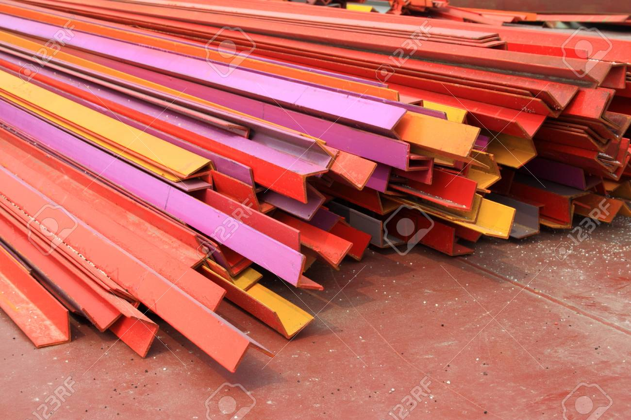 piling up together color angle steel in a factory in china Stock Photo - 10580379