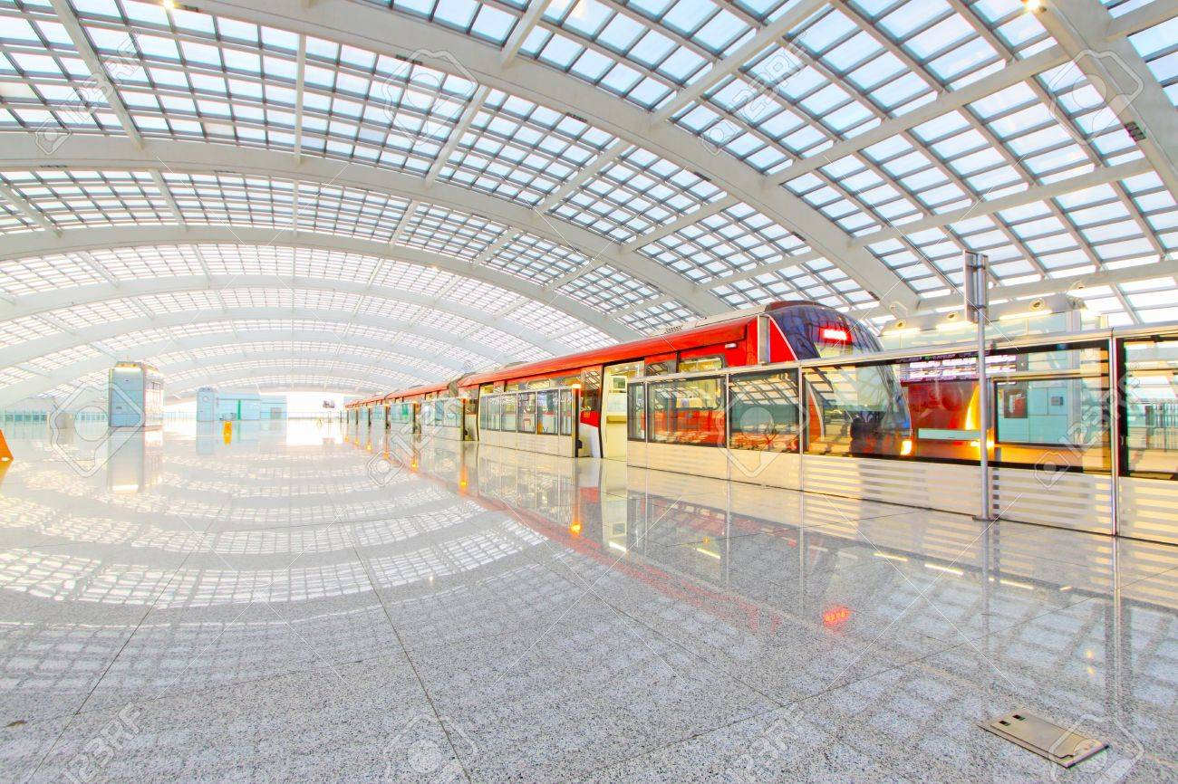 Beijing capital international airport construction landscape and passenger train Stock Photo - 12033406