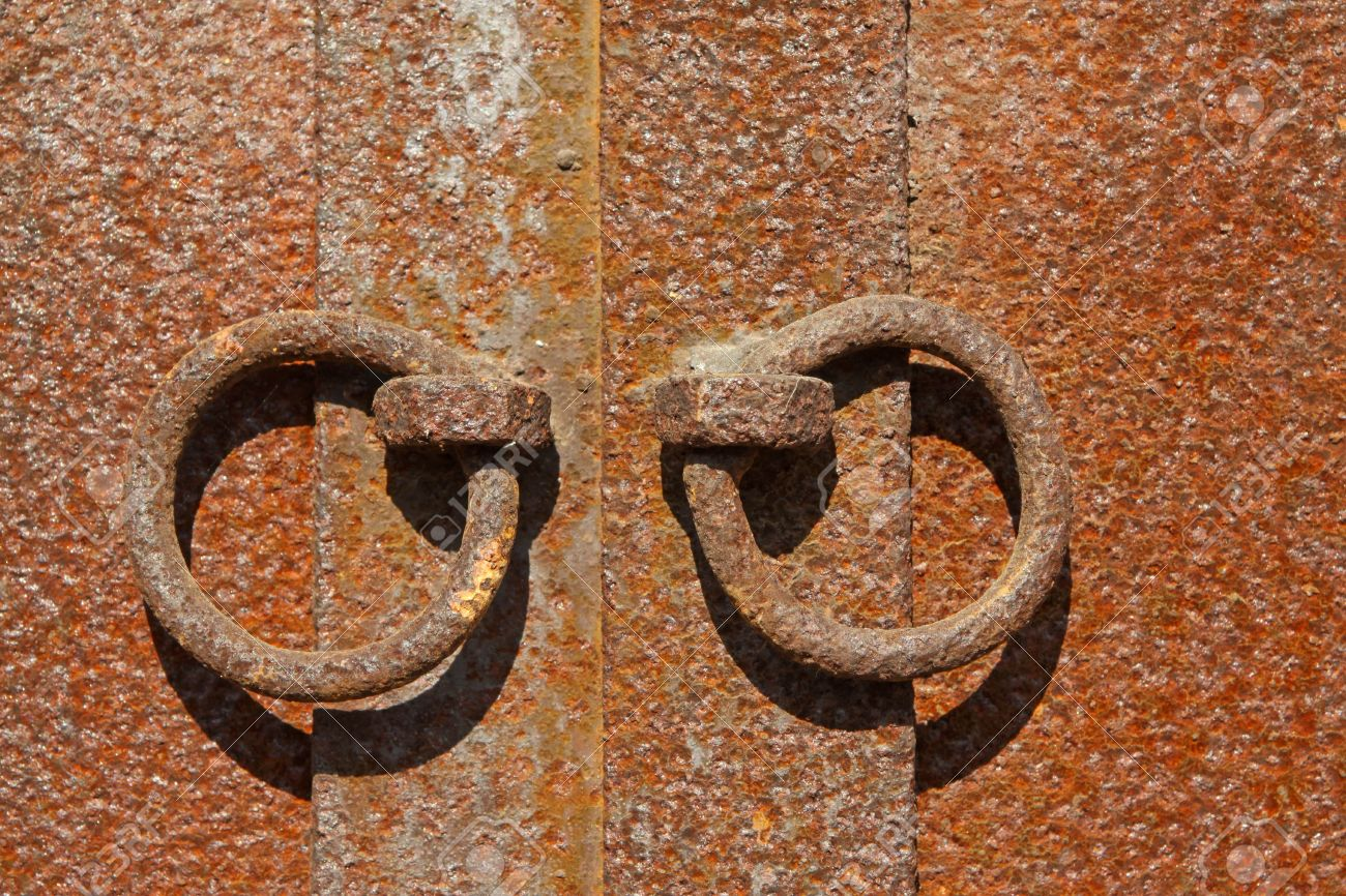 oxidation rust knocker metal in china rural areas stock photo