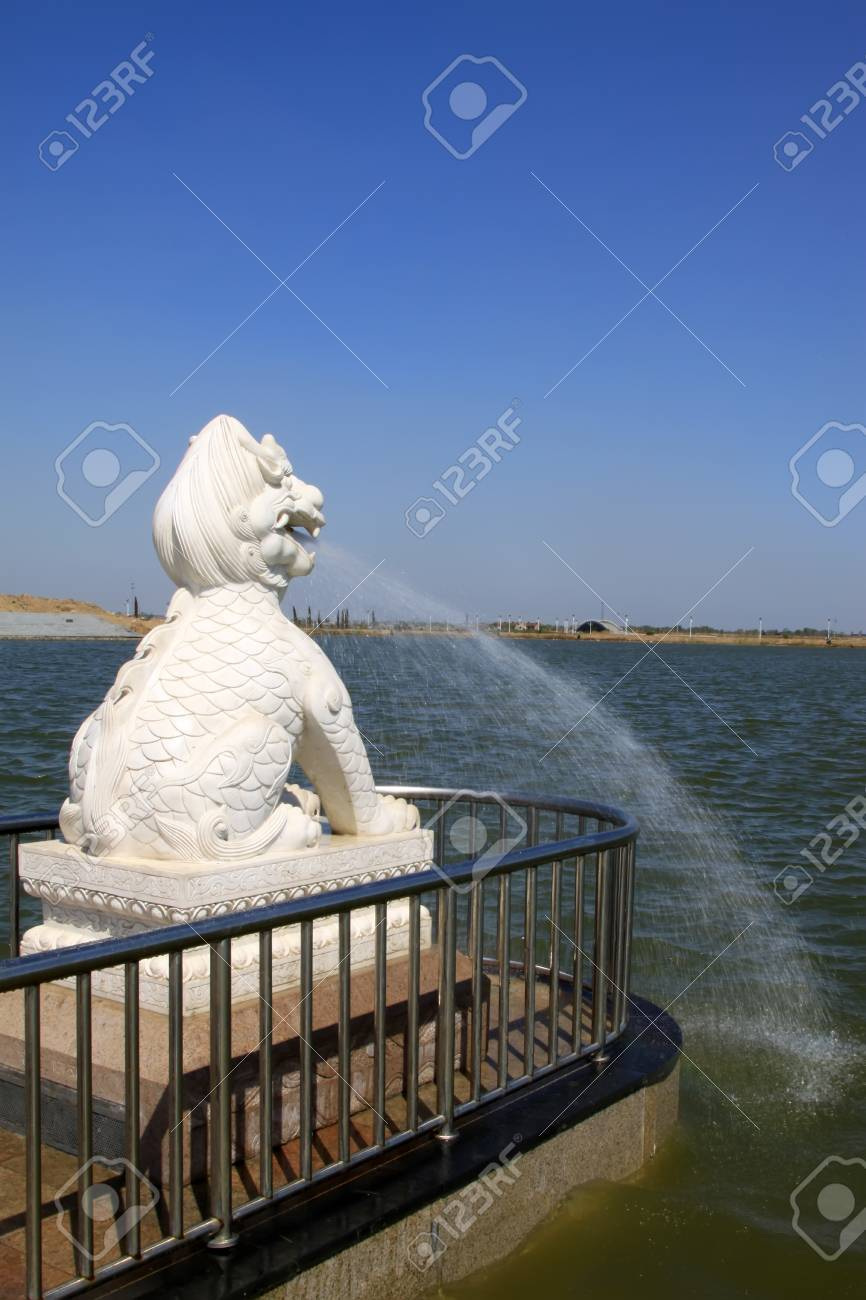 lion modelling of hydraulic device in a park, north china Stock Photo - 13641395