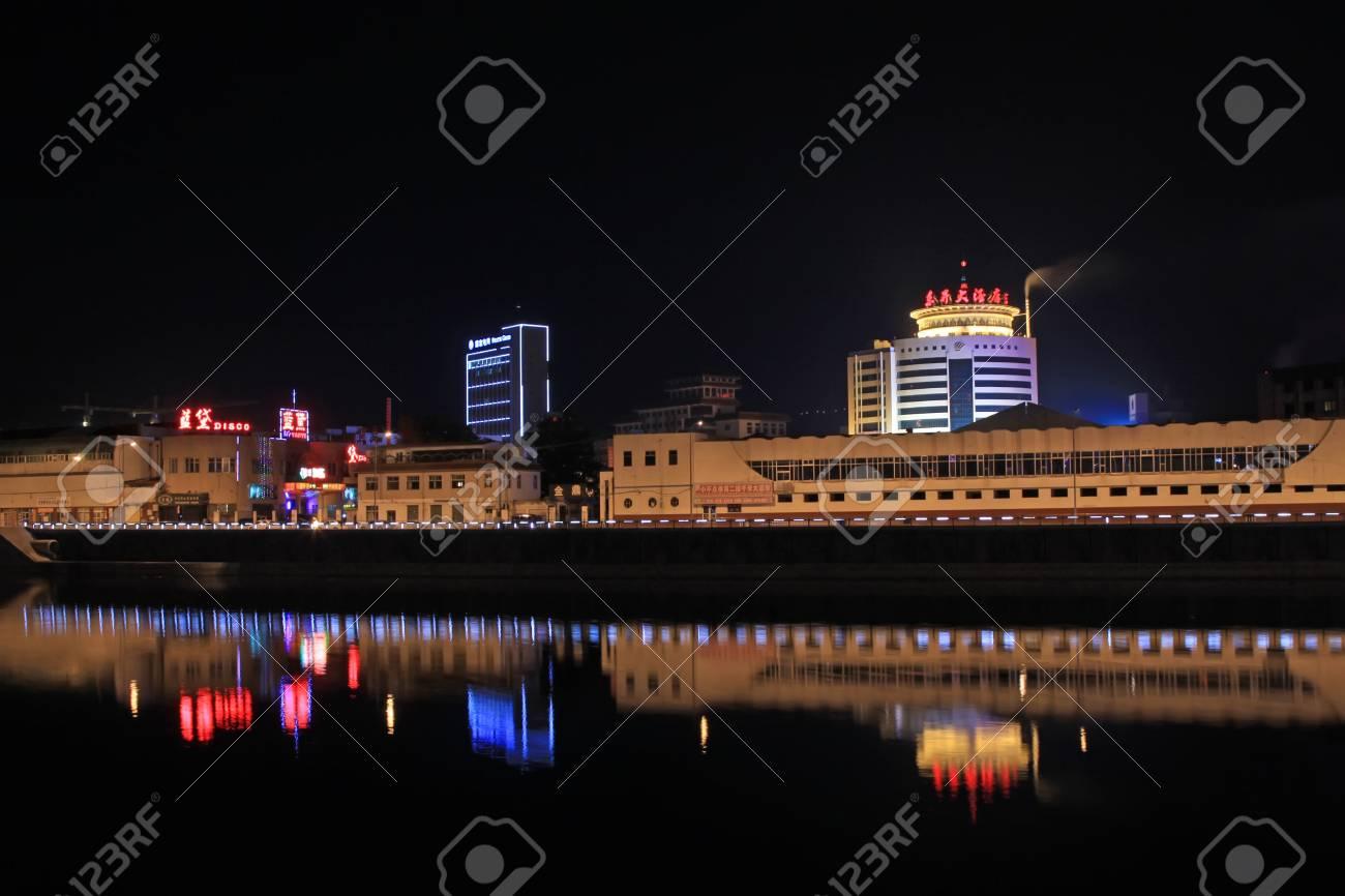 May 9, 2011, city night scenery in zhangjiakou city, hebei province, China Stock Photo - 18193338