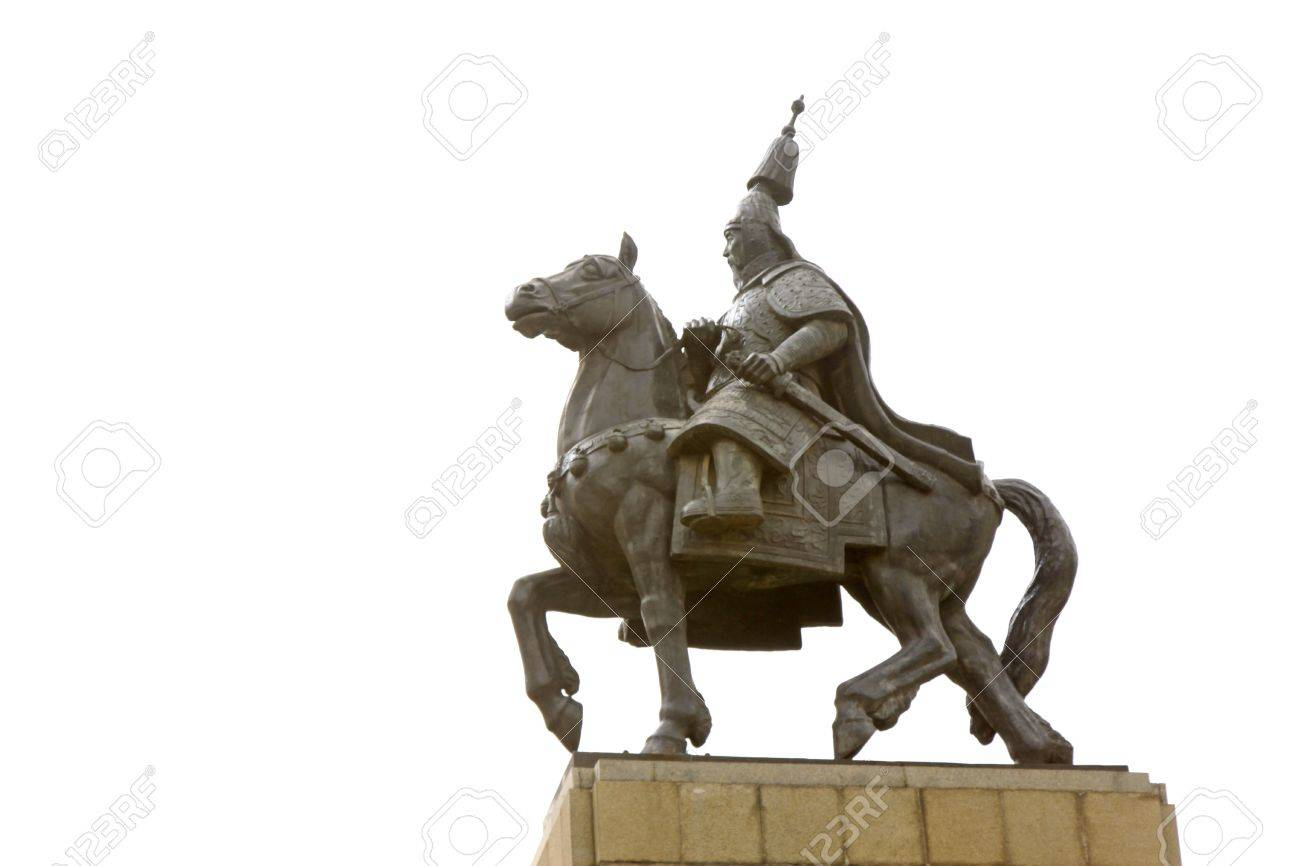 Chinese ancient knight sculpture on a white background Stock Photo - 18188732