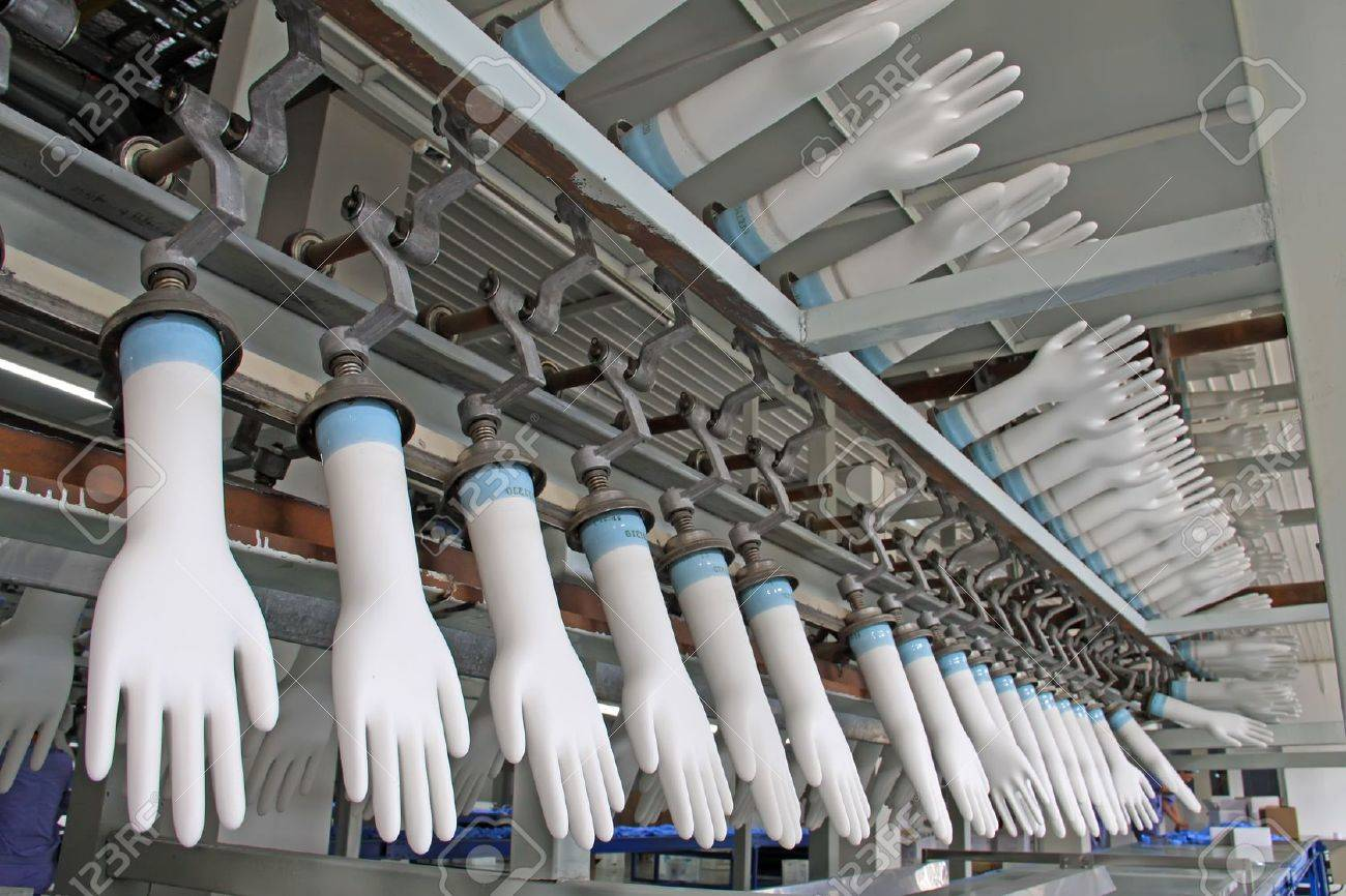 closeup of acrylonitrile butadiene gloves production line in a factory, north china - 20976287