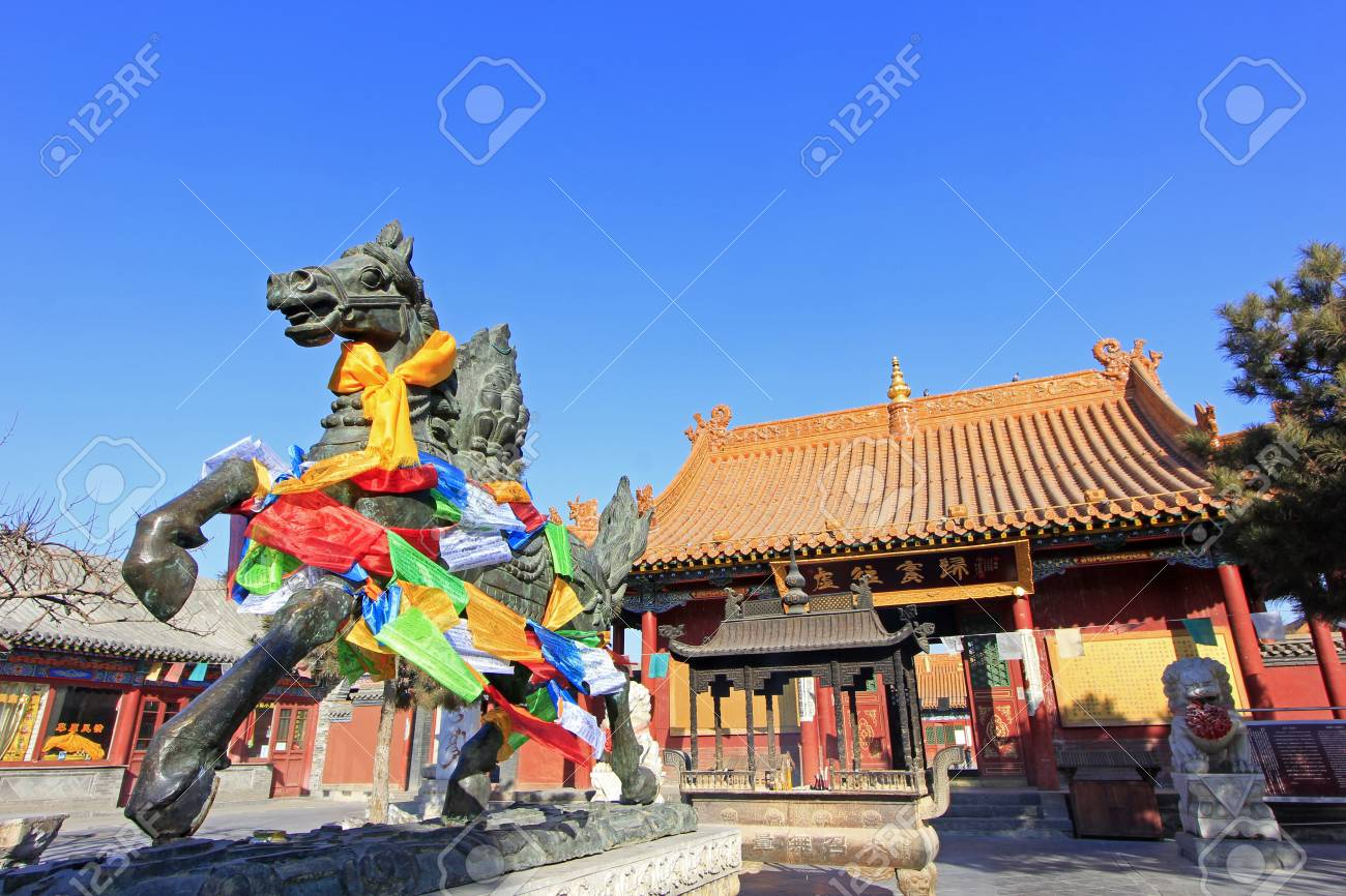Hohhot City - February 6: Running horse sculpture in the Dazhao