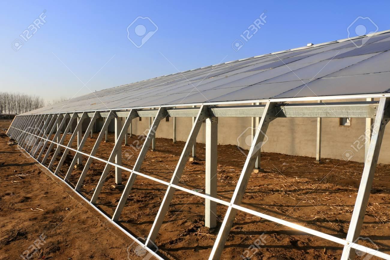 Solar Photovoltaik Glas Und Gewachshauser Rahmen Nahaufnahme Von