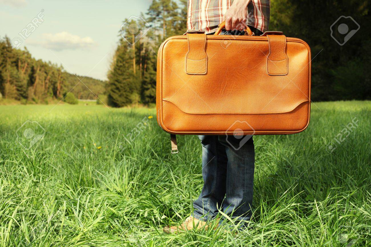 Man with vintage travel bag standing on green lawn - travel concept Stock Photo - 14273347