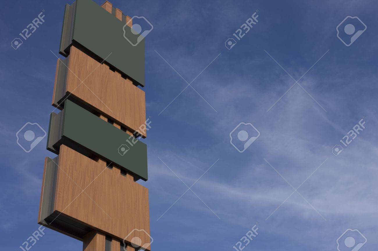 Tall blank signboard with alternating panels in green and brown with copyspace for your text ot information against a hazy blue sky Stock Photo - 14273337