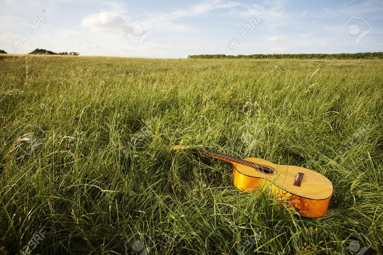 Wooden acoustic guitar lying in the foreground in a green grassy field with copyspace Stock Photo - 14378587