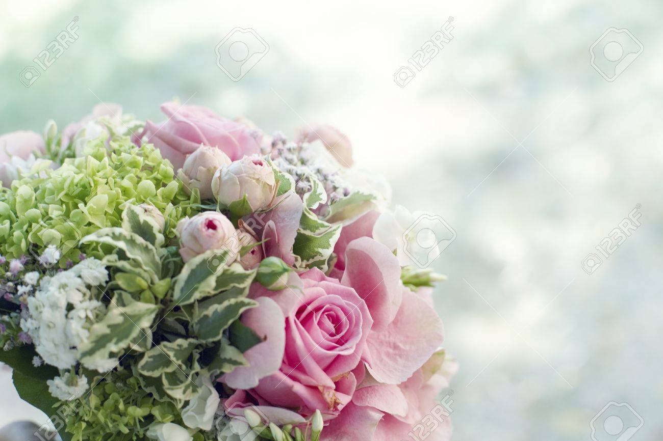 Closeup Background Of A Bridal Bouquet With Lovely Pink Roses