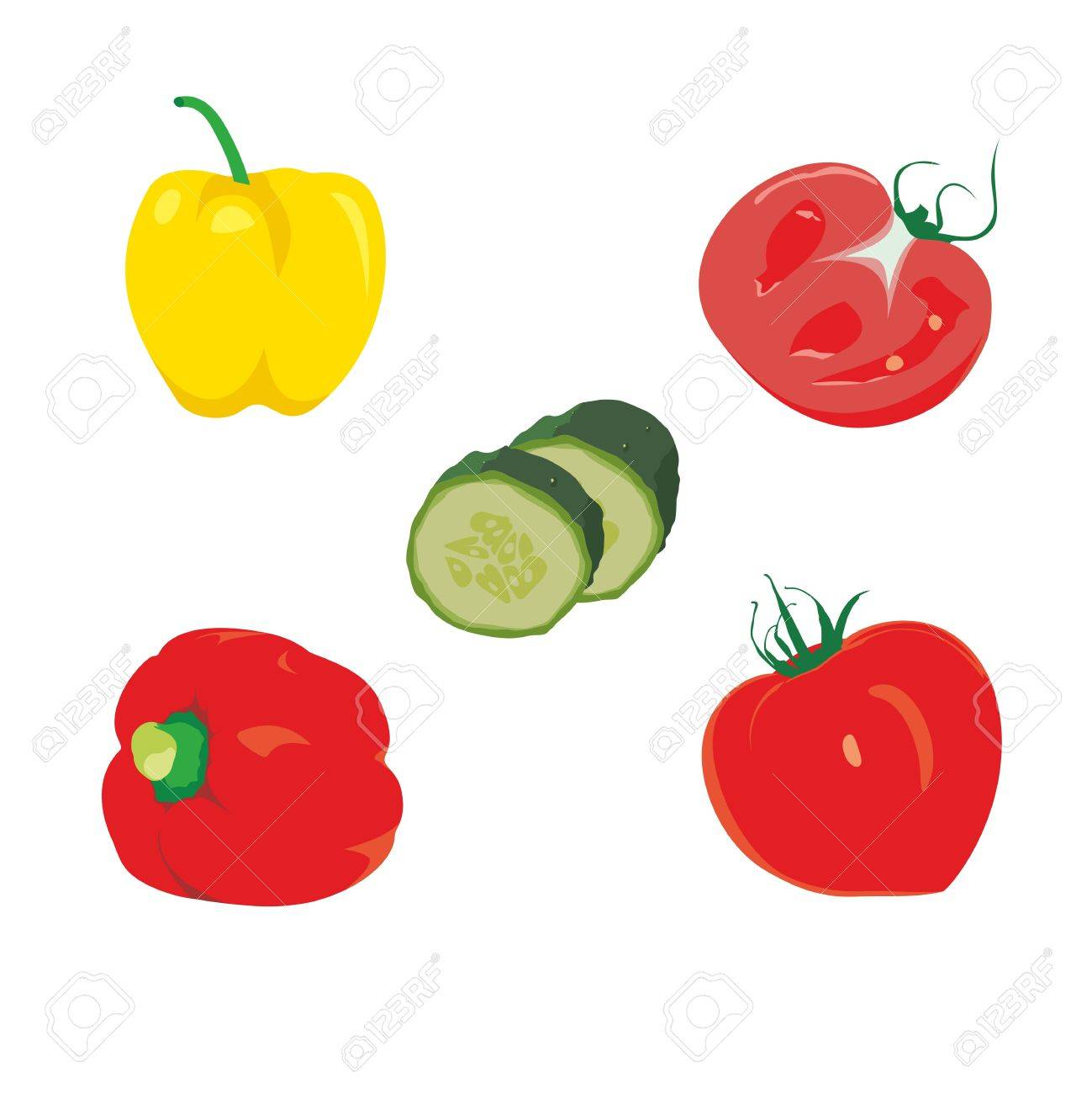 ripe tomatoes with sweet pepper and cucumber Stock Vector - 12251350