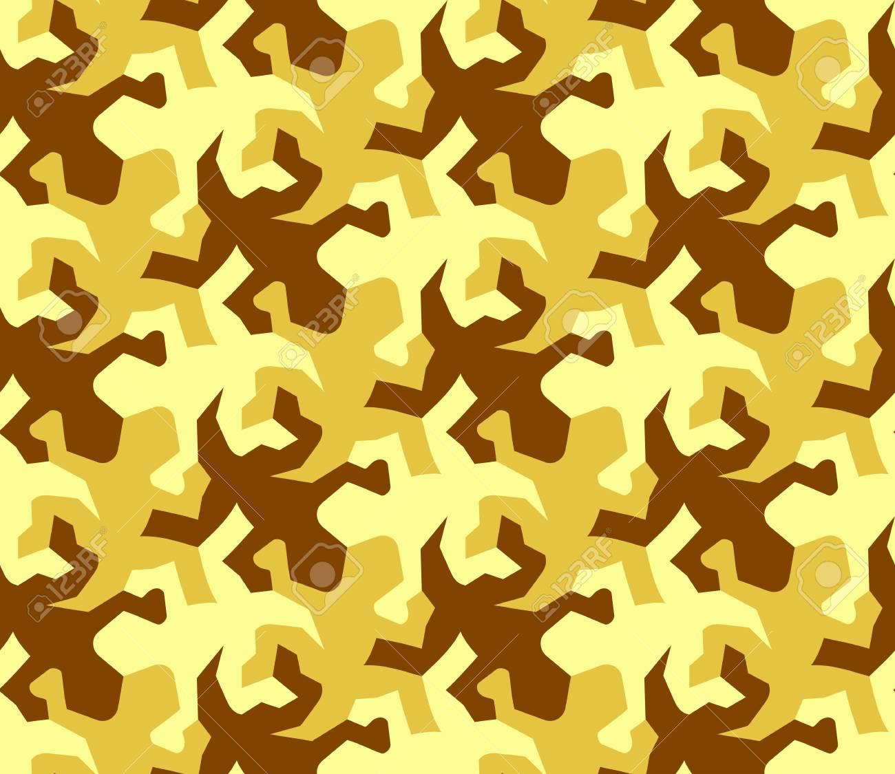 Seamless Pattern Of Golden Lizards Tessellation Stock Photo