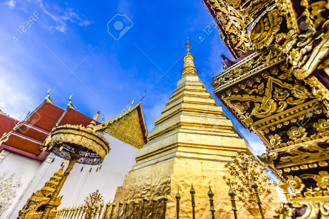 Wat Phra That Cho Hae, the Royal Temple, is a sacred ancient temple in Phrae, Thailand - 128810556