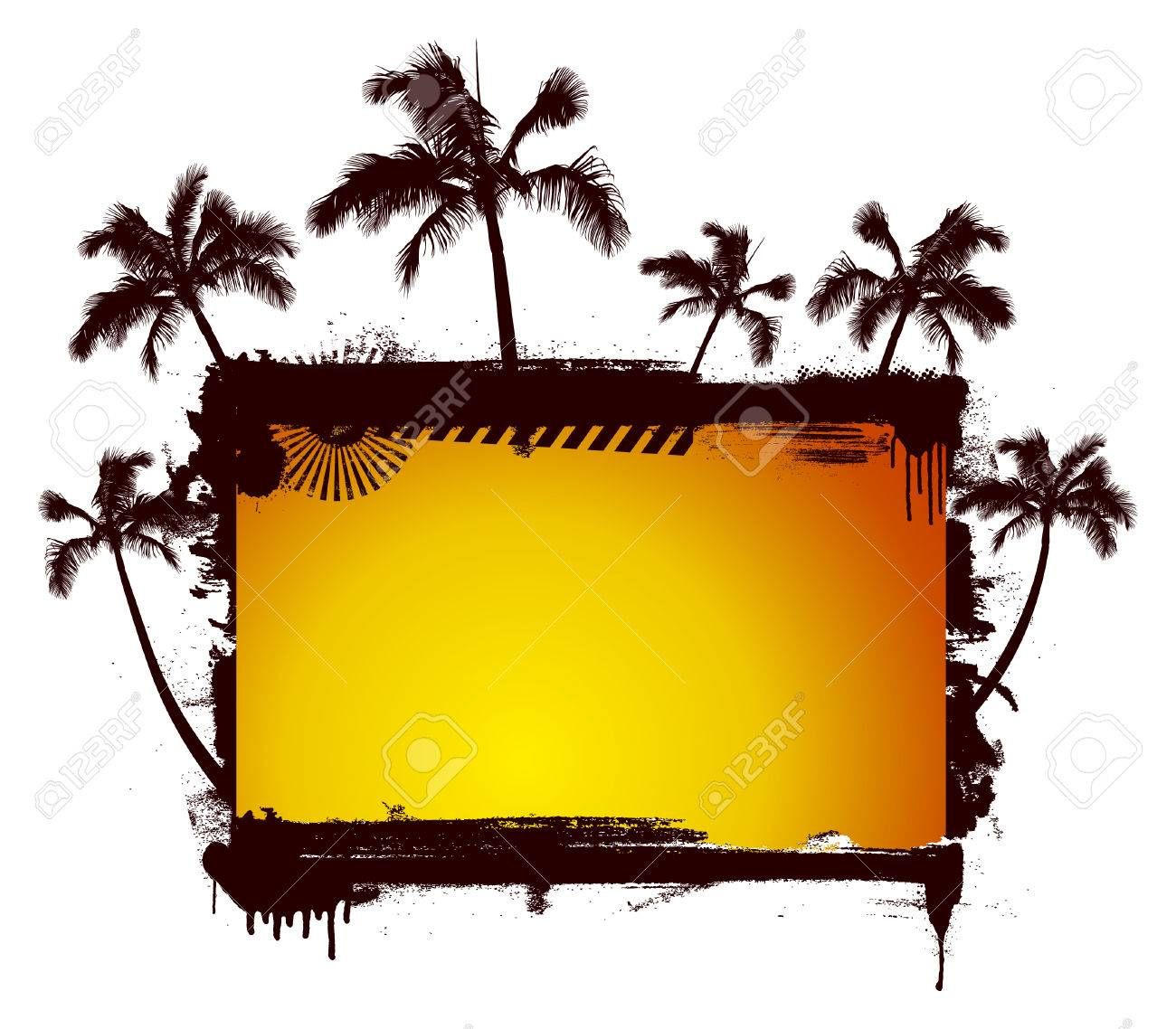 Stencil sunset summer frame background with lot of palms royalty stencil sunset summer frame background with lot of palms stock vector 41971174 jeuxipadfo Image collections