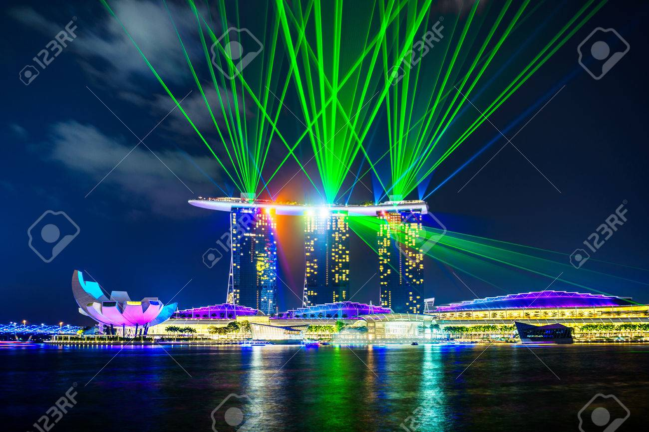laser and light show at marina bay sands singapore stock photo