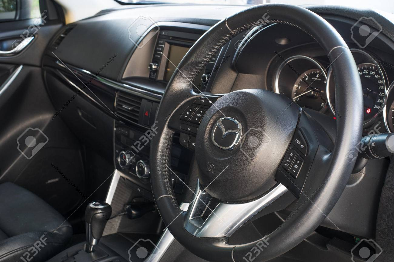 THAILAND   CIRCA 2016: Interior Of Mazda CX5 Model With The Steering Wheel  Visible.