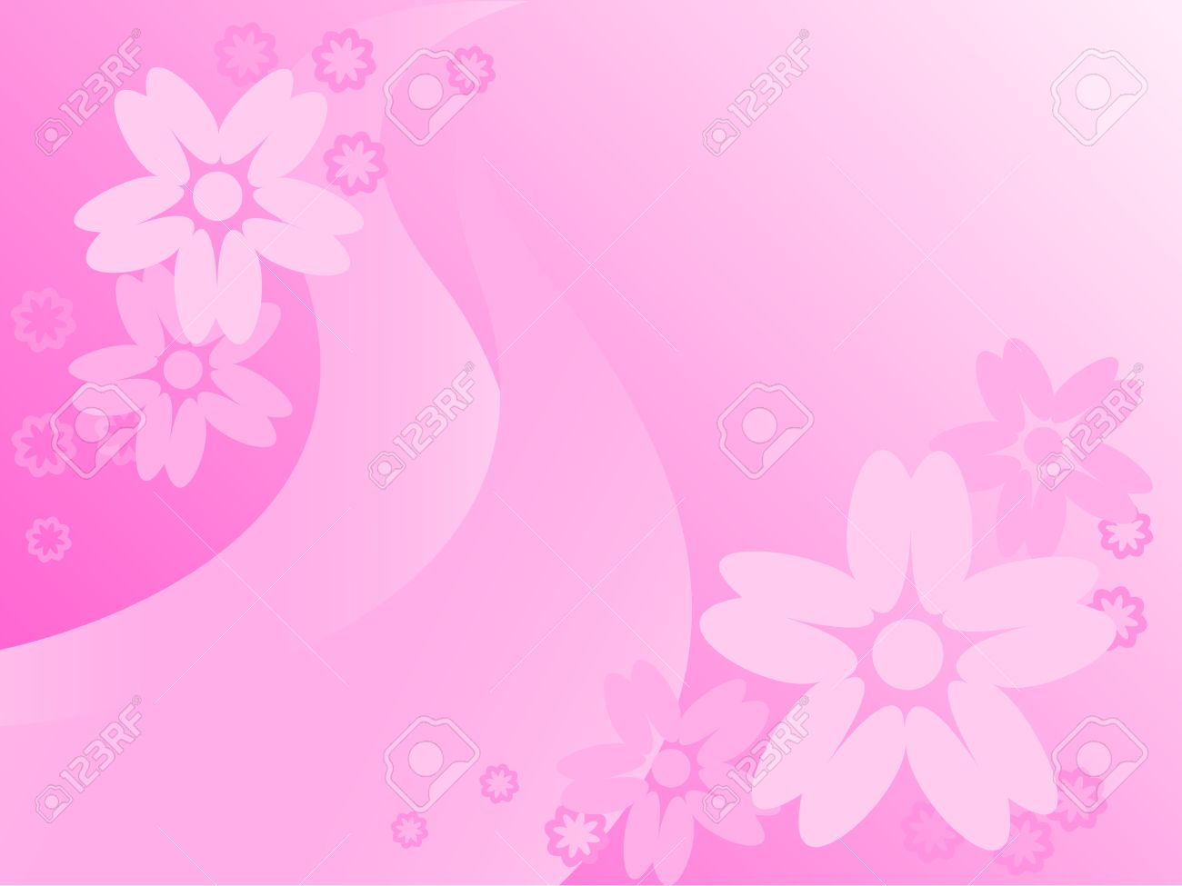 Dissymetrically Placed Flowers On A Pink Abstract Background Royalty