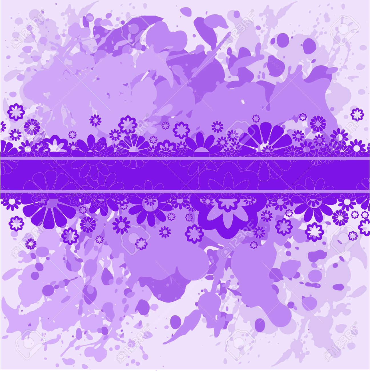 Abstract spattered violet background with lilac flowers Stock Vector - 7823076