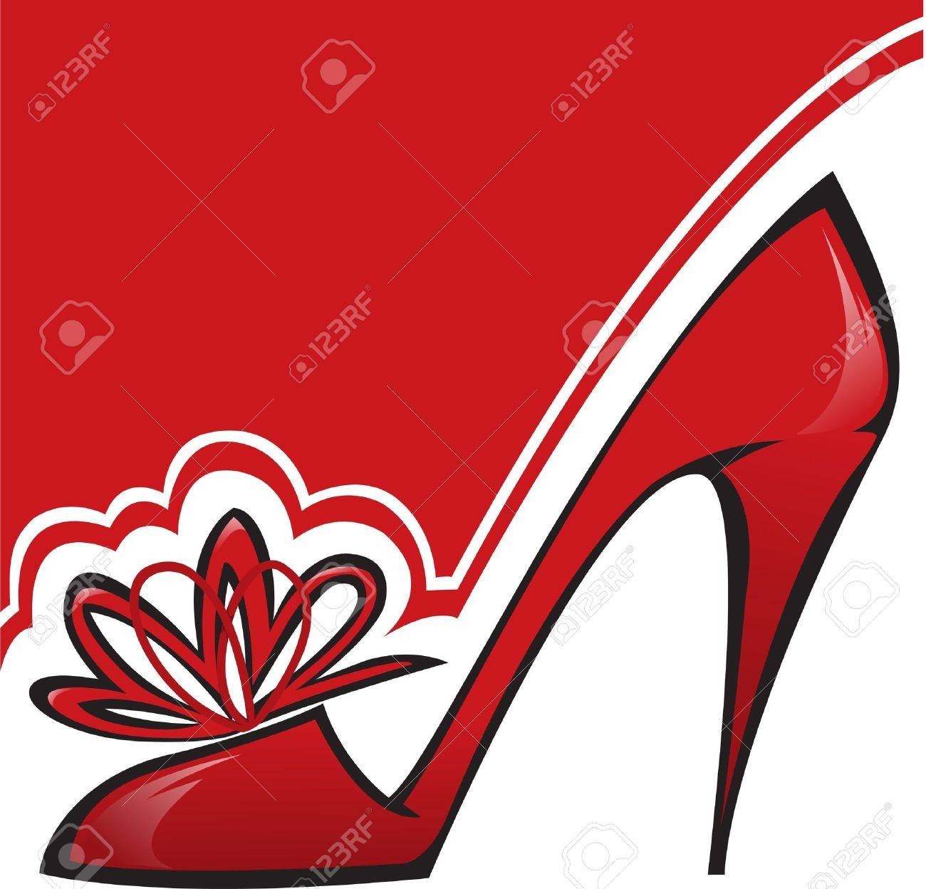 red shoe  with a high heel on the asymmetric background Stock Vector - 7823081