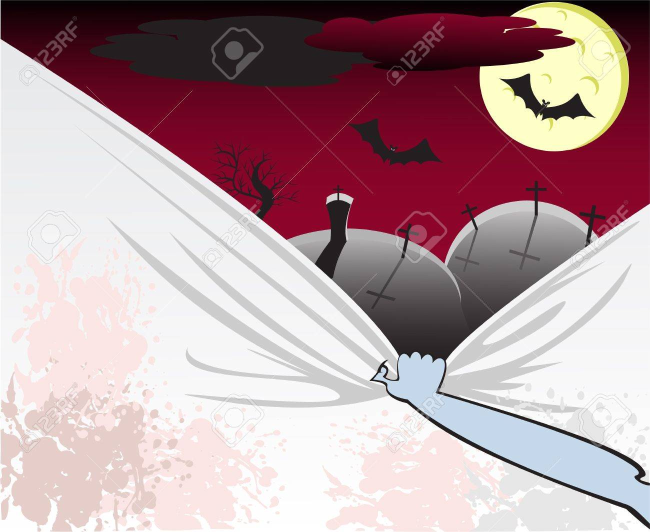 Dead Man's arm pulls a dirty veil from the cemetery landscape Stock Vector - 8010641