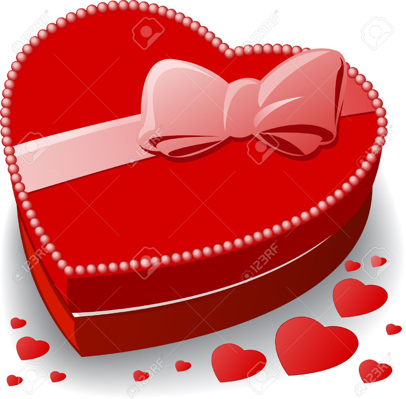 red heart-shaped box decorated with a bow Stock Vector - 8142577
