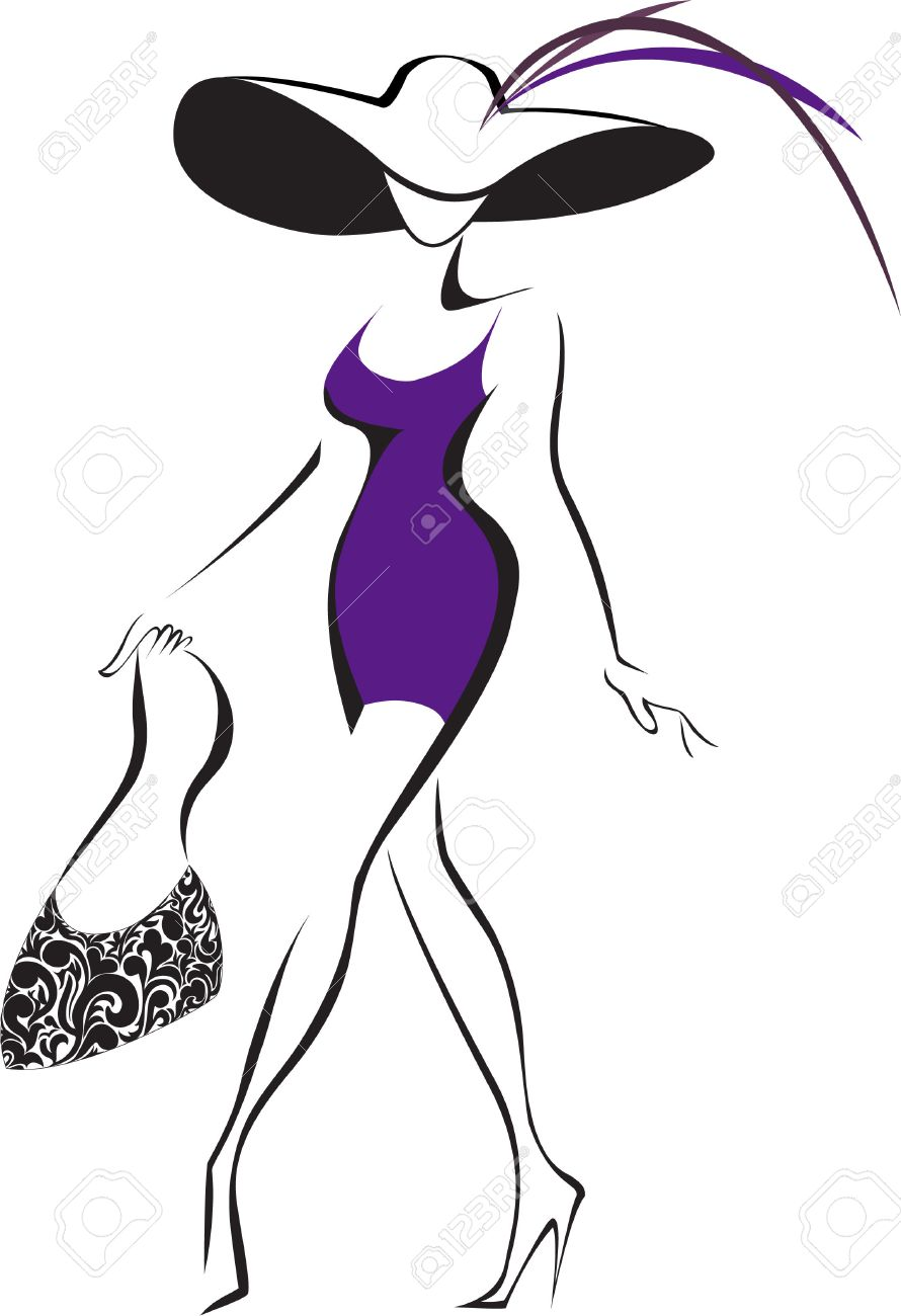 slim silhouette running woman in a hat and a bag Stock Vector - 8496074