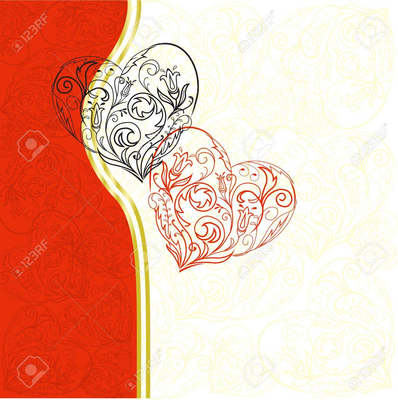 black and red lacy hearts on asymmetric white-red background Stock Vector - 8809823