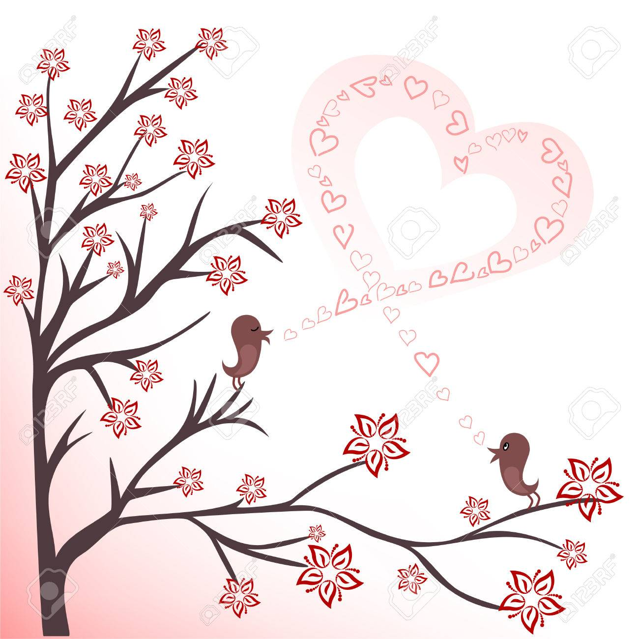 two love birds on flowering branches sing a song Stock Vector - 8809834