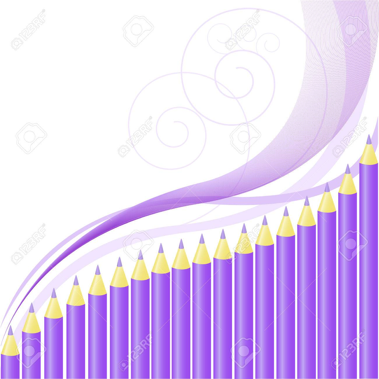 .asymmetric background of purple pencils and wavy lines Stock Vector - 8925212