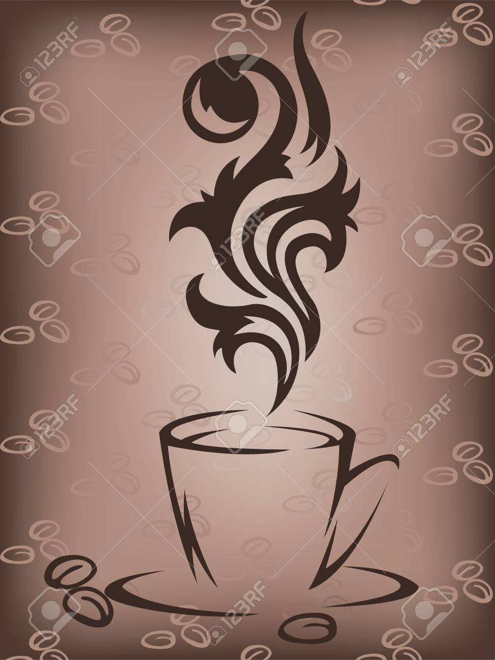Stylized cup of coffee on a brown background with coffee beans Stock Vector - 8925610