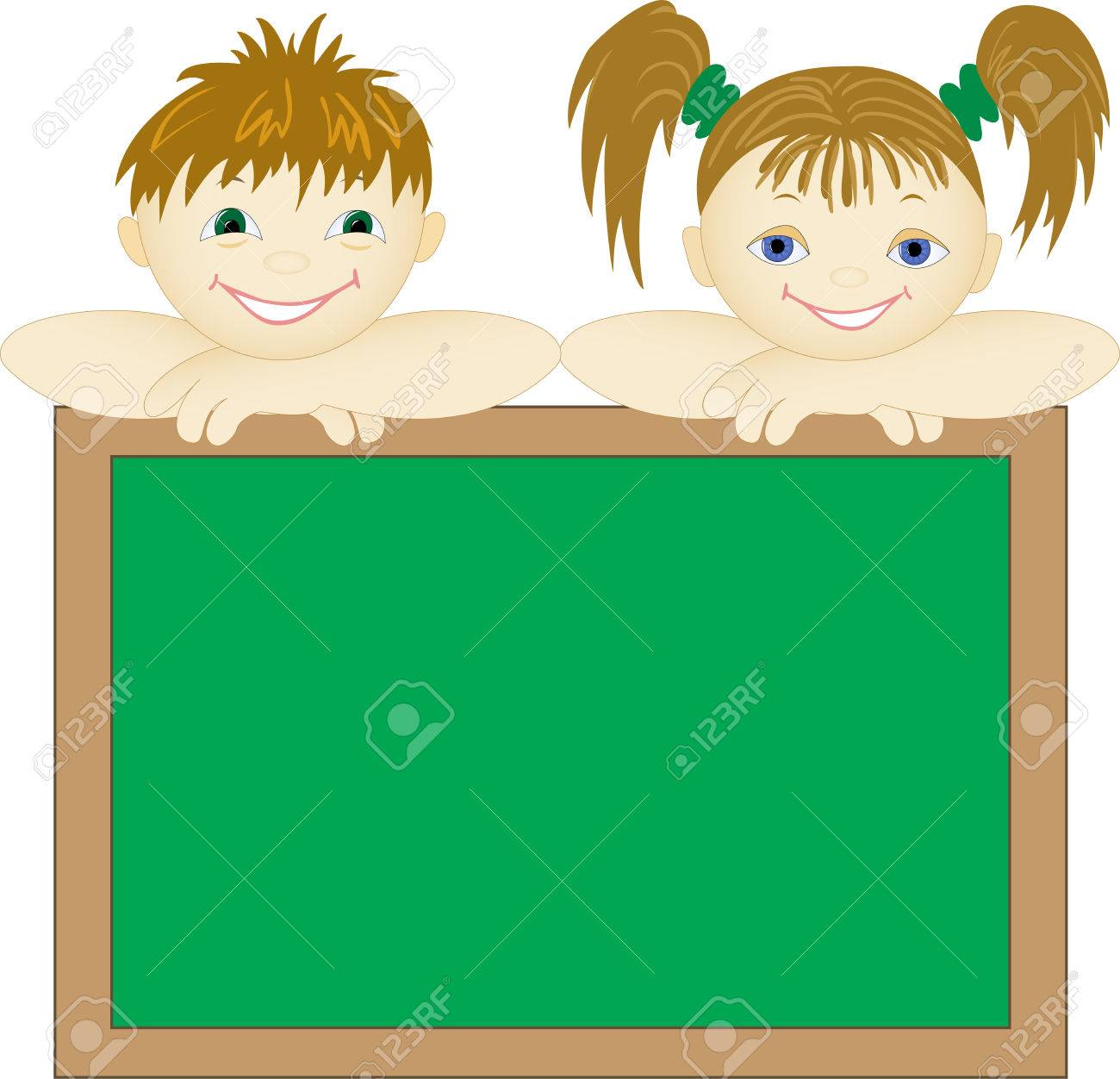 boy and a girl peep out for school board Stock Vector - 8977784