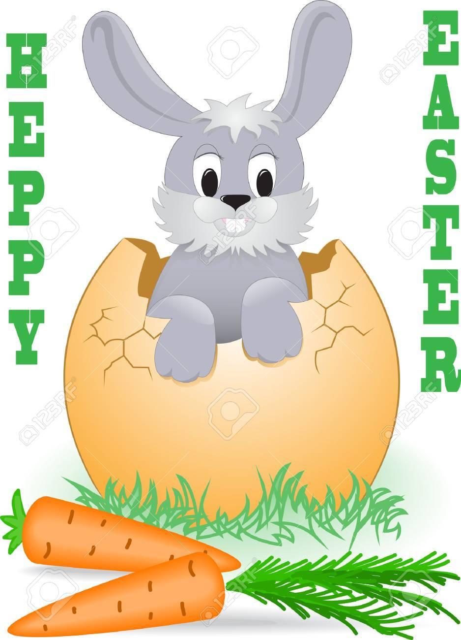 Easter Bunny looks out the broken egg Stock Vector - 8977789