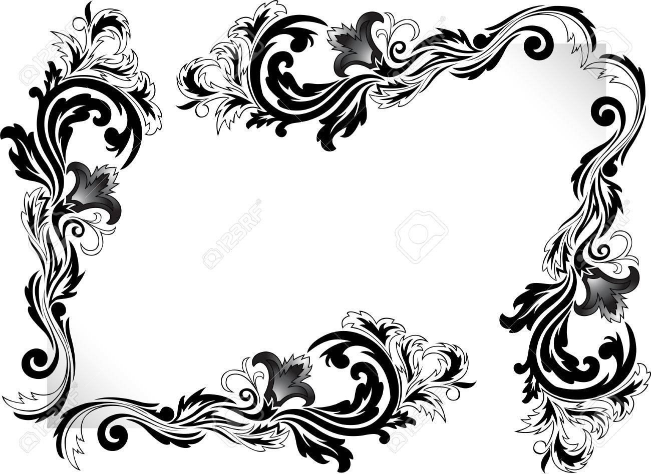 a set of black corner ornaments on a white background Stock Vector - 8977799