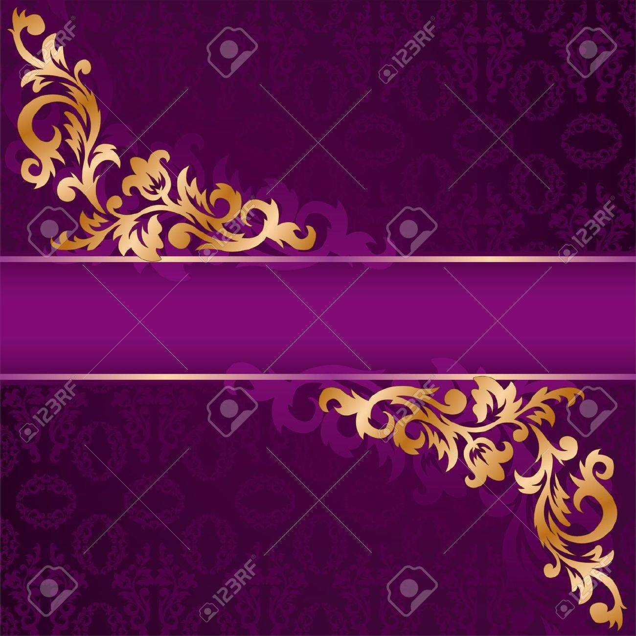 purple banner with a gold ornate ornaments Stock Vector - 9045702